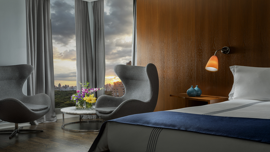 Junior King Suite: A 450 sq ft one-bedroom city view suite with a terrace or balcony.